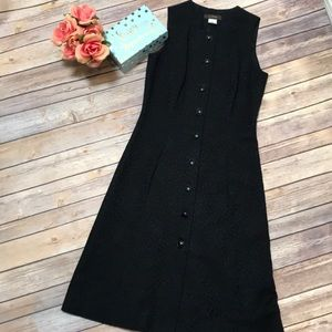 J. Crew black button Front embossed dress